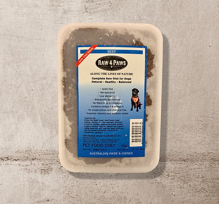 Raw 4 Paws Beef for DOGS 1kg Containers PICK UP ONLY