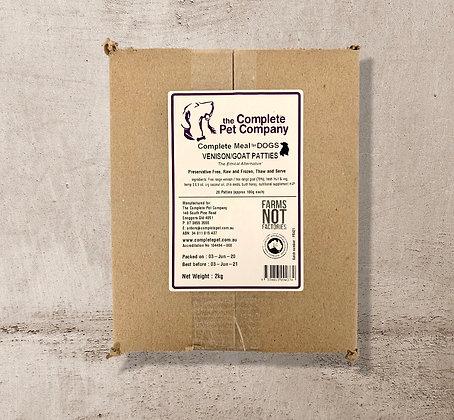 Free Range Venison & Goat Patties 2kg for DOGS ~ The Complete Pet Company