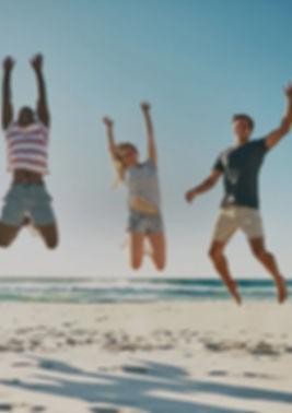 Sol, strand, venner, solbeskyttelse