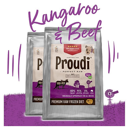 Proudi® Raw Frozen Kangaroo & Beef Patties For DOGS 2.8kg PICK UP ONLY