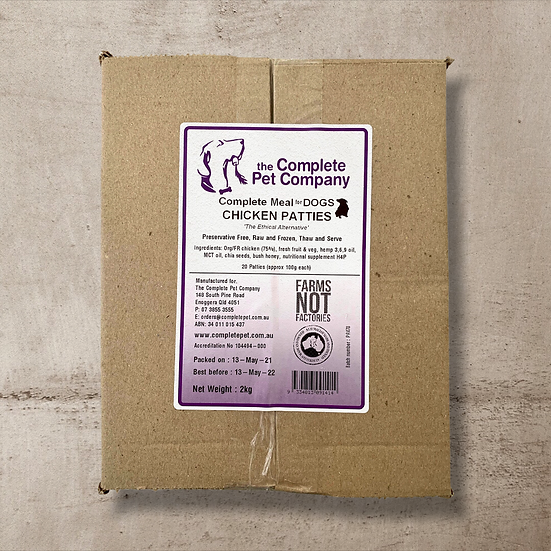 Organic/FR Chicken Patties 2kg for DOGS ~ The Complete Pet Company INSTORE ONLY