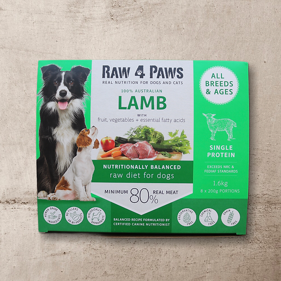 Raw 4 Paws Lamb for Dogs 1.6kg 8 x 200g Portions INSTORE ONLY