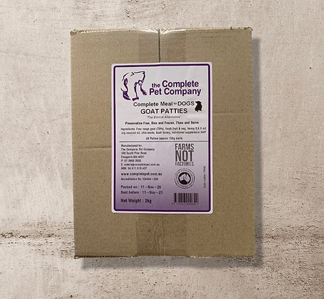 Free Range Goat Patties 2kg for DOGS ~ The Complete Pet Company PICK UP ONLY