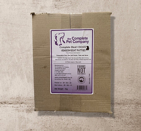 Free Range Venison & Goat Patties 2kg for DOGS ~ The Complete Pet Company