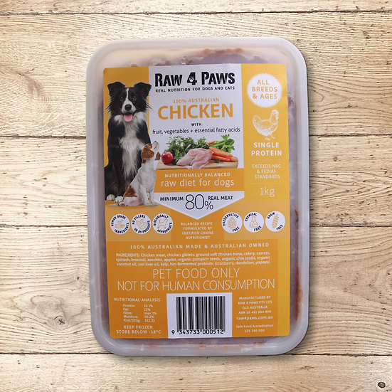 Raw 4 Paws Chicken for DOGS 1kg Containers PICK UP ONLY