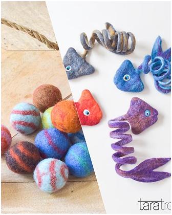 Christmas Gift Pack ~ Felt Fish Toy & Felt Ball Toys for Cats