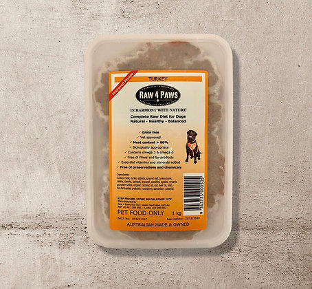 Raw 4 Paws Turkey for DOGS 1kg Containers PICK UP ONLY