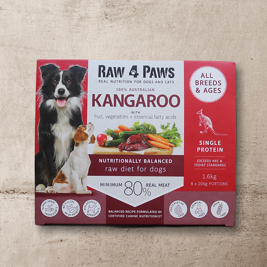 Raw 4 Paws Kangaroo for Dogs 1.6kg 8 x 200g Portions INSTORE ONLY