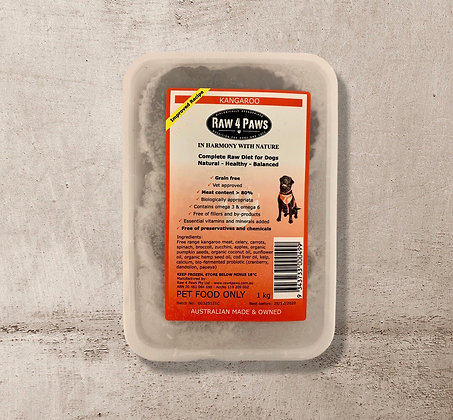 Raw 4 Paws Kangaroo for DOGS 1kg Containers PICK UP ONLY