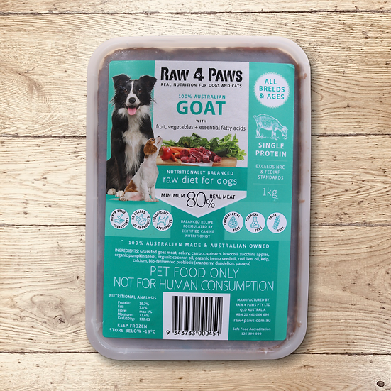 Raw 4 Paws Goat for DOGS 1kg Containers PICK UP ONLY