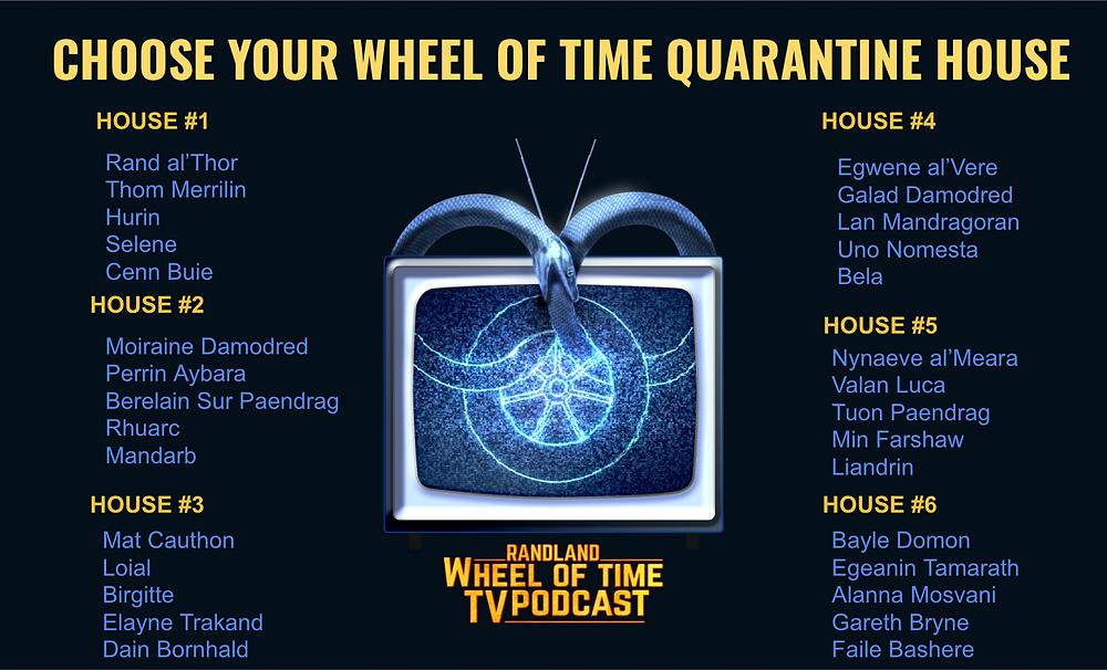 """Text on a background says: """"Choose your Wheel of Time Quarantine House"""". Optiioins are House #1: Rrand, Thom, Hurni, Selene, Cenn Buie, House #2: Moiraine, Perrin, Berelaiiin, Rhuarc, Mandarb, House #3: Matt, Loial, Birgitte, Elayne, Dain, House #4: Egwene, Galad, Lan, Uno, Bela, House #5: Nynaeve, Valan Luca, Tuon, Min, Liandriin, House #6: Bayle Domon, Egeanin, Alanna, Gareth Bryne, Faile"""