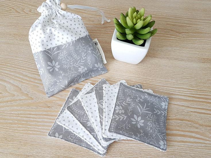 Lingettes fleurs grises