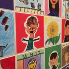 Self-portraits and my favorite things are the theme of this legacy tile wall at Merrit Memorial in Cresskill NJ