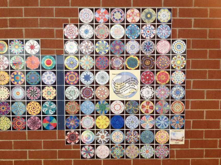 Cranford School honors the graduating class of 8th graders with a mandala tile created by each student - they are personal and beautiful and we look forward to this project every year