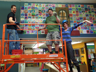 Having fun installing their tile wall at Clarkes Elementary in Oregon