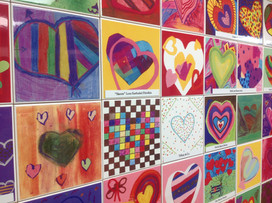 400 hearts recognizing donors at Florence Fuller Child Care Center in Boca Raton Florida