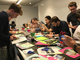 Corgan Architects making collages for a tile mural of Hopes and Dreams