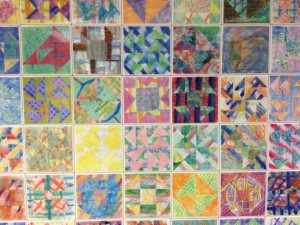 Black History Month - celebrated at the Joyce Kilmer School with these art tiles resembling the quilts on the slave train