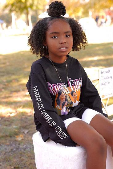 """Kids """" Black"""" Long Sleeve  Brown Girls Club Graphic  Tee"""
