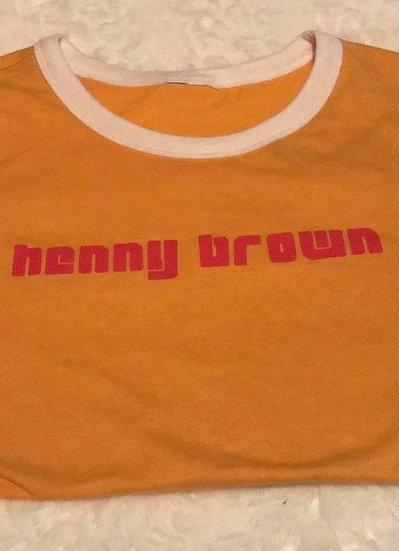 """Henny Brown""Baby Tee (mustard yellow)"