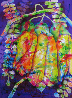 Kowhai Trio 100cm x 75cm Acrylic - $950- Currently exhibiting at The People's Gallery in Artful Response Exhibition