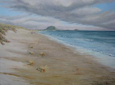 Morning Papamoa Beach $450 - 46cm x 61cm - Acrylic - AVAILABLE