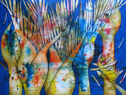 Nikau Dreams - SOLD - 90cm x 120cm - Acrylic - See also prints page for A3 print version