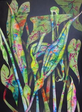 Taro Tangle $1400 - 120cm x 90cm - Acrylic - AVAILABLE