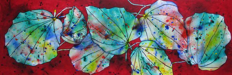 Kawakawa Colours -SOLD - 50cm x 150cm - Acrylic