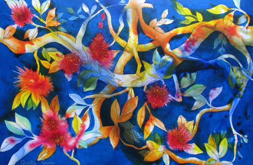 Pohutukawa Dreams - SOLD - 60cm x 90cm Acrylic - See prints page for A3 print version