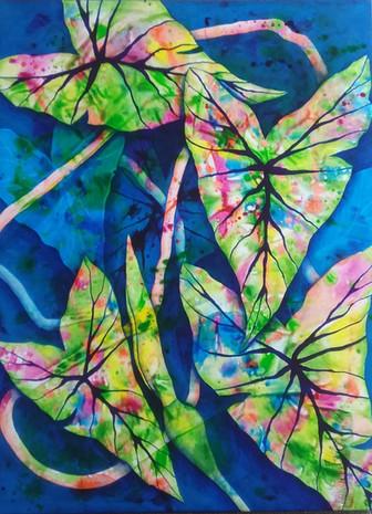 Blooming Taro $950 - 100cm x 75cm - Acrylic - AVAILABLE