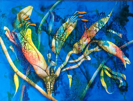 Flax Flowers $1400 - 90cm x120cm - Acrylic - AVAILABLE - See prints page for A3 print version