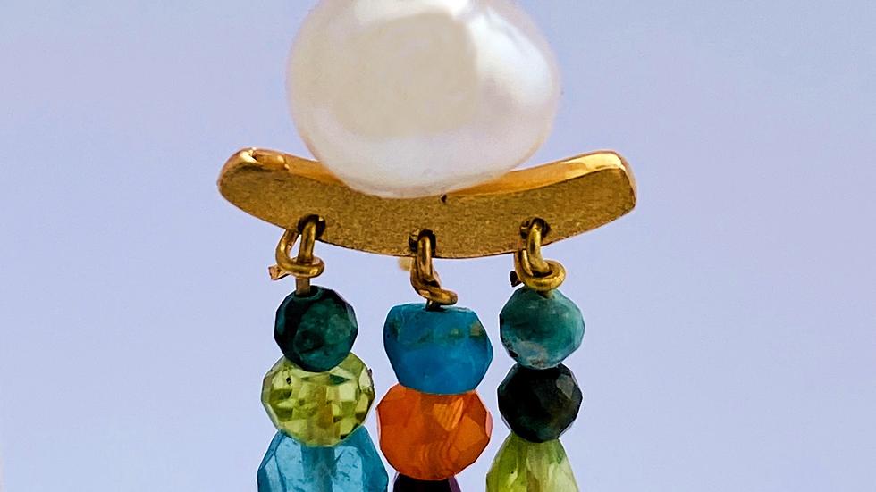 Arrecada or groc perla,peridoto,amatista,turquesa,aiguamarina,turmalina.