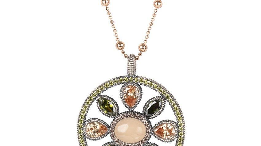 Colgante plata cadena plata rosada, circonitas,cuarzo rosa,peridoto