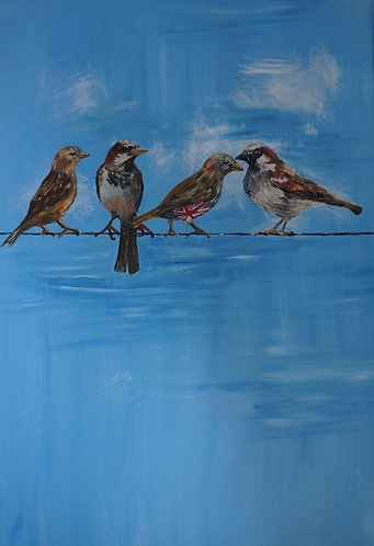 Sparrows on a line