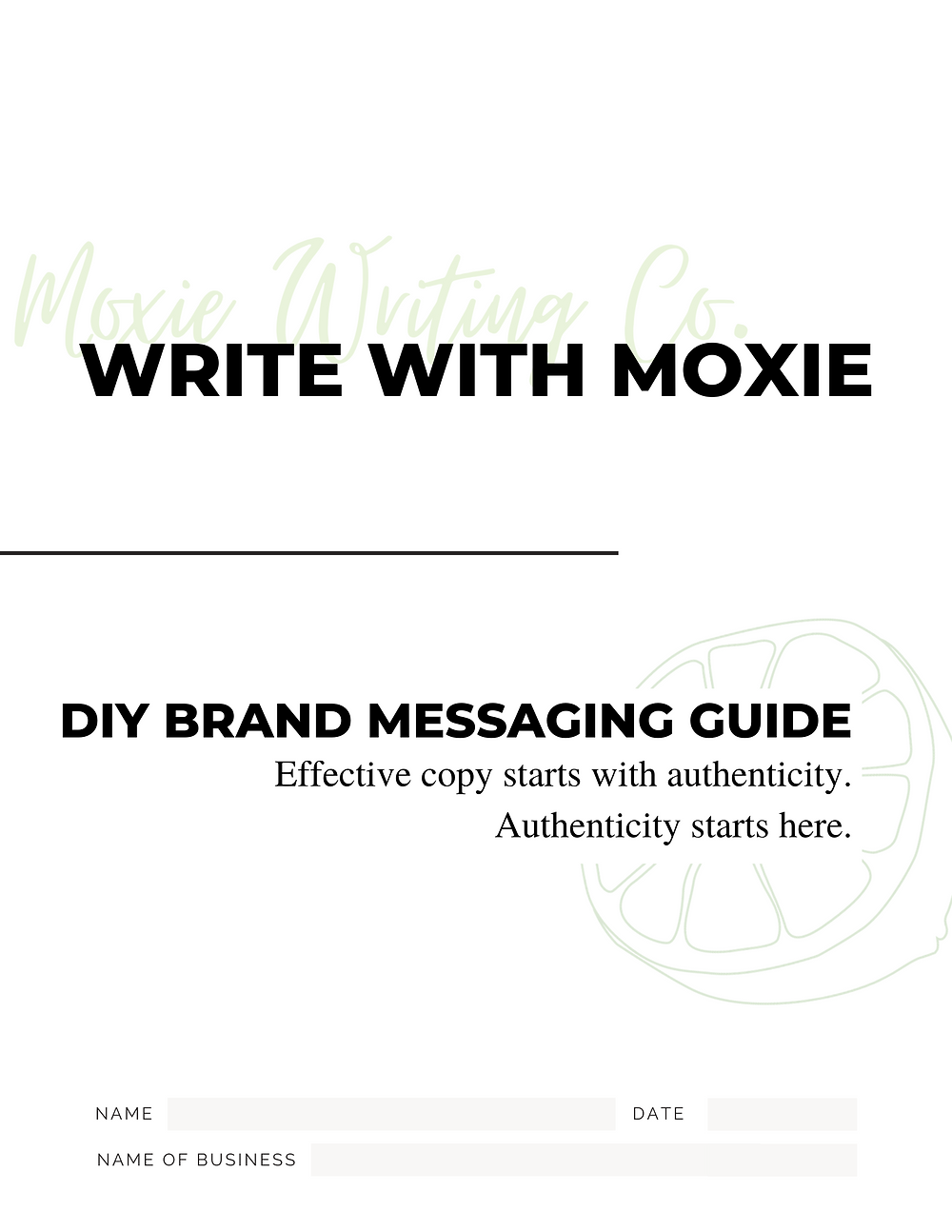Cover of the Write With Moxie DIY Brand Messaging Guide