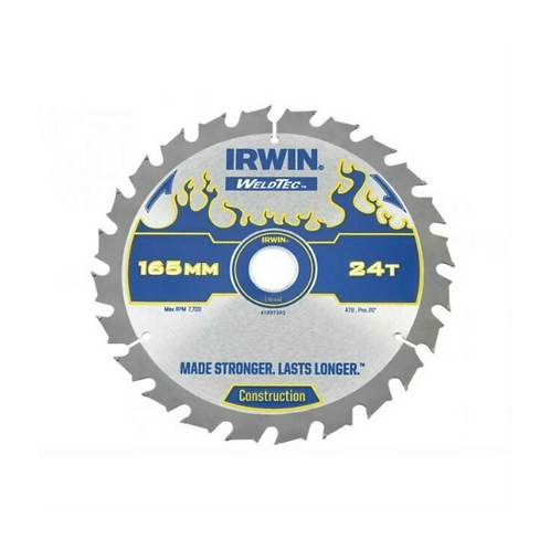 IRWIN 1897393 Weldtec 165mm Circular Saw Blade 20mm 24t