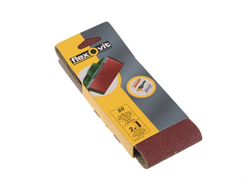 Flexovit FLV26463 Cloth Sanding Belt 75 x 457mm 80 Grit Medium - 2pcs