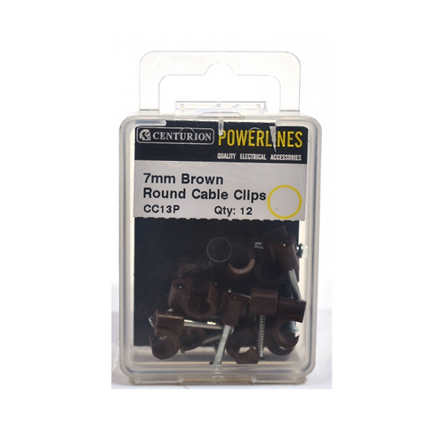 7mm Brown Round Cable Clips (Pack of 12)