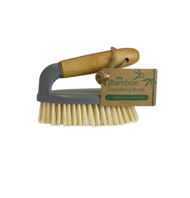 JVL Bamboo Scrubbing Brush with Handle