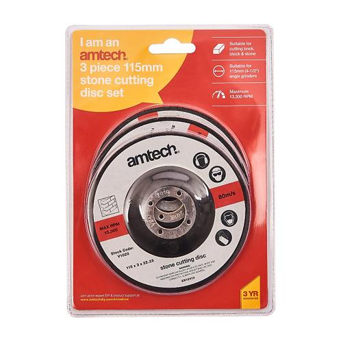 Amtech V1020 115mm stone cutting disc x 3pcs