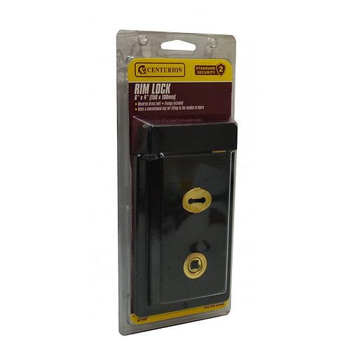 """150mm x 100mm (6"""" x 4"""") Black Rim Lock"""