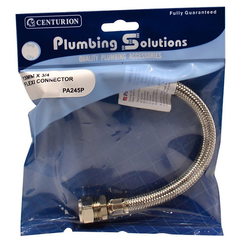 """15mm x 3/4"""" BSP x 300mm Armoured Flexible Cable"""