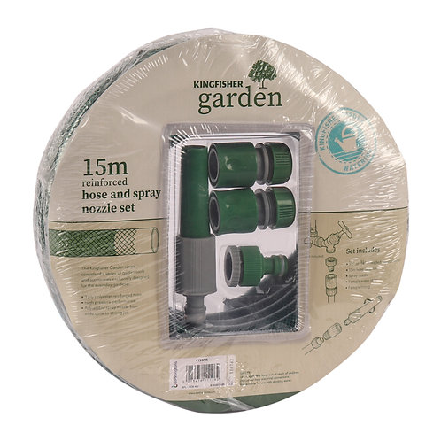 Kingfisher Garden 15m Hose and Spray Nozzle Set