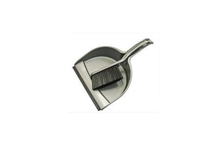 Grey Dustpan Brush Set Plastic