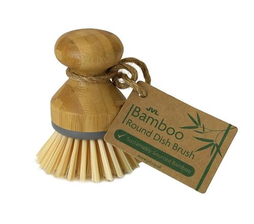 JVL Bamboo Round Dish Brush