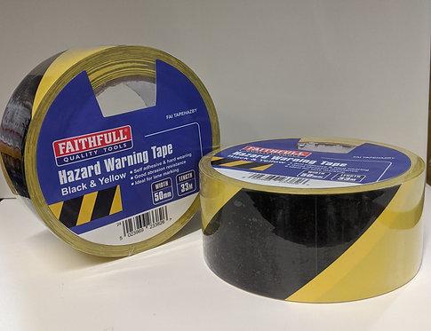 Faithfull Hazard Warning Safety Tape 50mm x 33M Black / Yellow