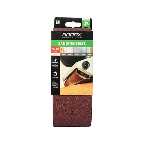 Addax Sanding Belts - 40 Grit - Red -7 5 x 457mm - 5pcs