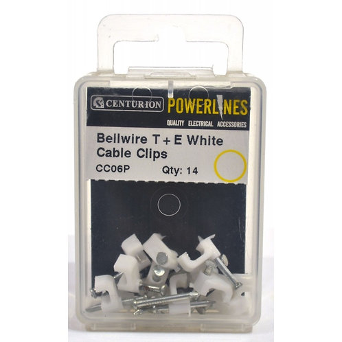Bellwire T+E White Cable Clips (Pack of 14)
