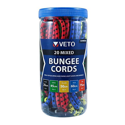 Veto Bungee Cords - Mixed Pack 20 Pcs